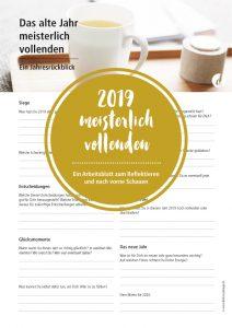 """Jahresrückblick Worksheet """"Das Jahr 2019 meisterlich vollenden"""""""